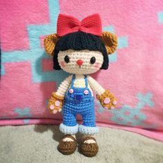 Amigurumi girl doll in a cat outfit, paws, ears and nose. I love this! (Inspiration).