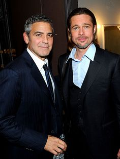 Putting their practical joke war aside for the night, George Clooney and Brad Pitt participate in a reading of 8, held Saturday at the Wilshire Ebell Theatre in Los Angeles.