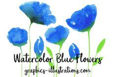 Free Watercolor Blue Flower /Volumes/Marketing/_MOM/Design Freebies/Free Design Resources/bsilvia-graphics-illustrations-bluefloral