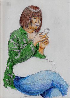 『迷彩柄のお姉さん(通勤電車でスケッチ)』 It is a sketch of the jacket women camouflage pattern. I drew on the train going to work towards the company.