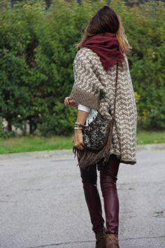 chevron stripe textured sweater-coat, rust/maroon scarf, maroon pants, leather fringe purse