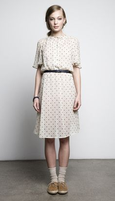 pretty dotted dress with socks, a belt and oxfords // via Juliette Hogan's new collections