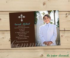 Boys First Communion Invitations Communion by ThePaperShamrock, $15.00