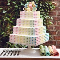 Relive fun childhood memories with this button candy wedding cake.