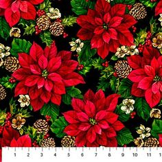 Home for the Holidays~Poinsettias Black~Christmas Cotton Fabric by~Northcott~Fast Shipping HC291