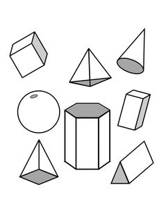 Some 3D shapes. The dotted lines help you see that these
