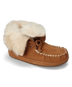 Look at this Medium Brown Faux Fur Larsson Leather Slipper - Kids on #zulily today!