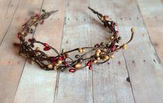 Rustic crown woodland headband fall headpiece by gardensofwhimsy