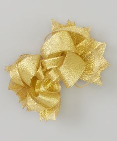 Look at this Gold Sheen Princess Bow Clip on #zulily today!