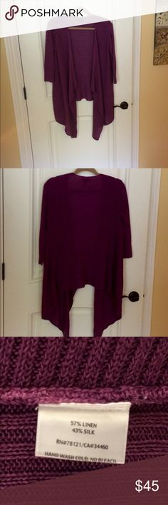 WOW! EILEEN FISHER Linen/Silk Violet Sweater S! Eileen Fisher Fans, Don't miss out on this Beautiful & Classy Purple Silk/Linen Sweater! Misses Sz. Small. Fits Med. also. Throw on over white or black skinny capris/jeans, etc. Eileen Fisher Sweaters Shrugs & Ponchos