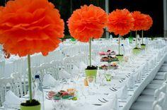 pompon deco de table mariage bapteme