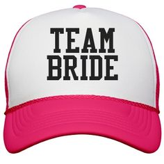 Team Bride Neon Pink | Neon hats are the new hotness. Wearing neon hats for your bachelorette party, that is double hot new hotness. Wearing Team Bride Neon Hats for the bachelorette party, well that is a whole new level. The triple new hotness level.