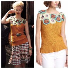 """Anthro Edie Satsuma Sweater Tank By Edie Satsuma Sweater Tank Size S  Inspired by the enticing tactility of a summer in bloom, this open-stitched shell is doused in a deep citrus shade and topped with a tangle of pinwheel flora. By Edie, from London-based Chelsea College of Art and Design graduate Flo Spurling, who specializes in designing embellished and adorned sweaterknit. Pullover styling Cotton, linen Hand wash Style No. 25045105 Bust 17"""" flat, L24""""  VGUC Anthropologie Sweaters"""