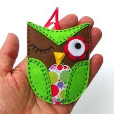 Winking Newsprint Owl Felt Christmas Ornament by PaisleyMoose