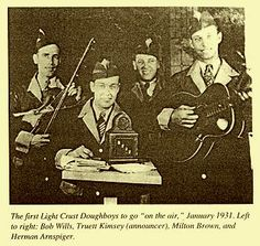 "Article:  Light Crust Doughboys - Bob Wills ""Of all the early Doughboys, Wills' influence was the most significant and enduring; the Light Crust Doughboys never departed from the fiddle-band origins Bob Wills established in the band's formative years."""