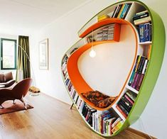 Surround yourself with literature while you indulge in your favorite novel while sitting in the bookshelf reading chair.The bold design blends form and function by allowing you to store your books throughout the entire frame of this unique reading chair.