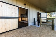 Stall run, Nelson Waterer between the runs, would like a sliding door on the back of my stalls