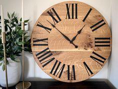 Quartersawn White Oak Clock 30 wall clock wooden   Etsy Wall Clock Wooden, Handmade Clocks, Roman Numerals, Types Of Wood, White Oak, Pattern Making, Farmhouse Style, Simple, Organic