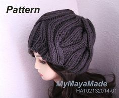 Knitting Pattern  Super Cabled Knitted Hat PDF by MyMayaMade, $5.99