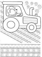 Kids Under Trace and Color Cars Tractor Coloring Pages, Tracing Worksheets, Writing Practice, Child Development, Little Ones, Kindergarten, Symbols, Letters, Kids