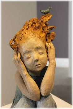 """My inner song"". 40 x 31 x 21 cm - Nina ❤ Ceram . - ""My inner song"". 40 x 31 x 21 cm – Nina ❤ Ceramics & brass – - Sculptures Céramiques, Art Sculpture, Pottery Sculpture, Bronze Sculpture, Pottery Art, Sculpture Ideas, Fantasy Kunst, Elements Of Art, Art Plastique"