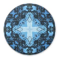 Blue Cross Nature Pattern Ceramic Knob -nature diy customize sprecial design