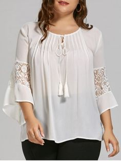 Plus Size Sheer Bohemian Chiffon Top with Lace Trim Sheer Chiffon, Chiffon Shirt, Chiffon Tops, Bohemian Tops, Plus Size Black Dresses, Plus Size Outfits, Red Blouses, Blouses For Women, Plus Size Online Shopping