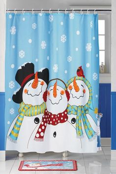 Frosty & Friends Snowman Shower Curtain for Christmas Snowman Shower Curtain, Holiday Shower Curtains, Shower Curtain Hooks, Fabric Shower Curtains, Bathroom Shower Curtains, Bathroom Sets, Family Bathroom, Blue Bathrooms, Bathroom Towels