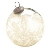 #Antiqued Silver Glass Etched Christmas Ornament