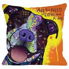 "A heartfelt ode to your furry companion, this artful pillow showcases a portrait of a pit bull in a street art-inspired palette.   Product: PillowConstruction Material: 100% Polyester cover and 100% polyester-down alternative fillColor: MultiFeatures:  Insert includedRemovable coverDigitally printed on both sides Dimensions: 18"" x 18""Cleaning and Care: Machine wash cover"