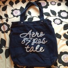 Aéropostale tattered bead tote bag Navy Aéropostale tattered bead tote bag Aeropostale Bags Totes