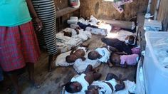 Haiti orphans living and sleeping in the back of a truck after their orphanage was destroyed.