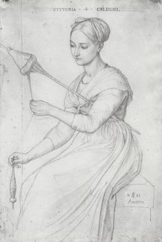 Category:Vittoria Caldoni portrayed by Julius Schnorr von Carolsfeld Spinning Wool, The Wooly, European History, Historical Costume, Working Woman, Figure Drawing, Fiber Art, Art Drawings, Images