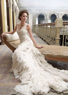 Bride sitting on beautiful couch