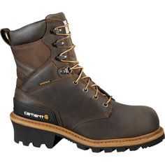 "Carhartt Men's Logger 8"" Waterproof Safety Toe Work Boots, Size: 10.0MEDIUM, Brown"