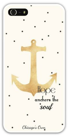 Hope Anchors the Soul Gold and Polka Dot iPhone 4/4s, 5, and 5c Phone Case by Chicago's Own on Etsy starting at $34.95 #Etsy #iPhone #iPhonecase #Anchor #Polkadot #Gold #Quote