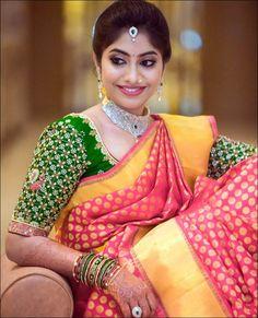 Banaras Pattu Saree Blouse With Mirror Work & Gota Patti