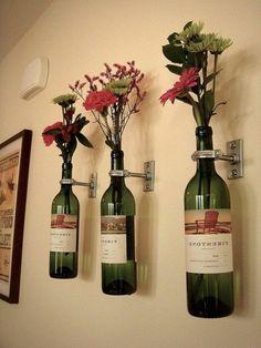 blumen und weinflaschen als wanddekoration verwenden - Zeit für Kunst – 48 Wanddekoration Ideen