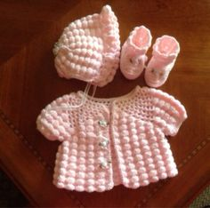 3piece Layette Hat Sweater Booties by SilverFoxxTreasures on Etsy, $30.00