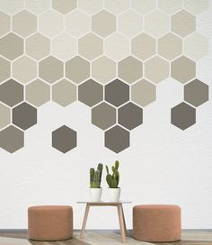 Geometric Wall Decal Removable Honeycomb Shapes by Nicematches