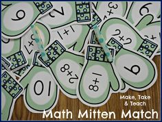 Mitten Match Freebie for addition.  Fun way of practicing addition facts!