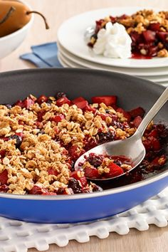 A one-skillet gluten free fruit crisp topped with granola and served with Reddi-wip Gluten Free Granola, Vegan Gluten Free, Gluten Free Desserts, Dessert Recipes, Cooking Show Hosts, Healthy Snacks, Healthy Recipes, Free Fruit, Cook At Home
