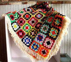 Vintage Granny Square Quilt by VintageHomeShop on Etsy