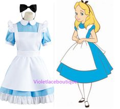 Alice in Wonderland Costume Lolita Dress Maid Cosplay Halloween Costumes for Women sold by Violetlace Boutique. Shop more products from Violetlace Boutique on Storenvy, the home of independent small businesses all over the world. Cartoon Halloween Costumes, Disney Characters Costumes, Halloween Cosplay, Halloween Outfits, Maid Cosplay, Disney Cosplay, Cosplay Dress, Cosplay Costumes, Disney Princess Dresses