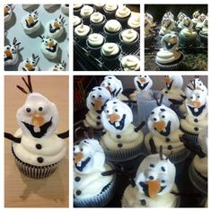 Olaf (from Frozen) cupcakes.
