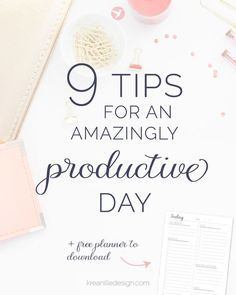 9 tips for an amazingly productive day // productivity tips for entrepreneurs Business Tips, Online Business, Business Coaching, Business Education, Business School, Business Marketing, Creative Business, To Do Planner, Life Planner