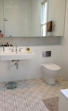 Natalie - shelf behind freestanding basin. patterned tiles