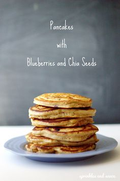 these pancakes are supper fluffy and have the healthy blueberries and chia seeds in them...