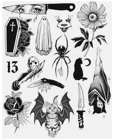 Spooky Tattoos, Dope Tattoos, Body Art Tattoos, Sleeve Tattoos, Tatoos, Retro Tattoos, Black Ink Tattoos, Leg Tattoos, Small Tattoos