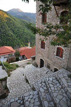 Hills and stairs - Lagadia, Arcadia Greece Architecture, Beautiful Architecture, Arcadia Greece, Santorini Villas, Myconos, Seven Wonders, Beautiful Places, Stunningly Beautiful, Greece Travel